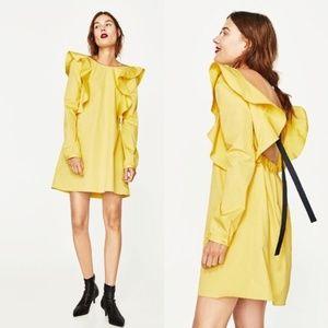 ZARA Ruffled Cotton Dress Sz M